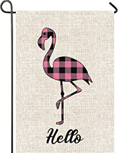 Mogarden Flamingo Garden Flag, Double Sided, 12.5 x 18 Inches, Buffalo Check Plaid Thick Weatherproof Burlap Welcome Hello Spring Summer Yard Flag