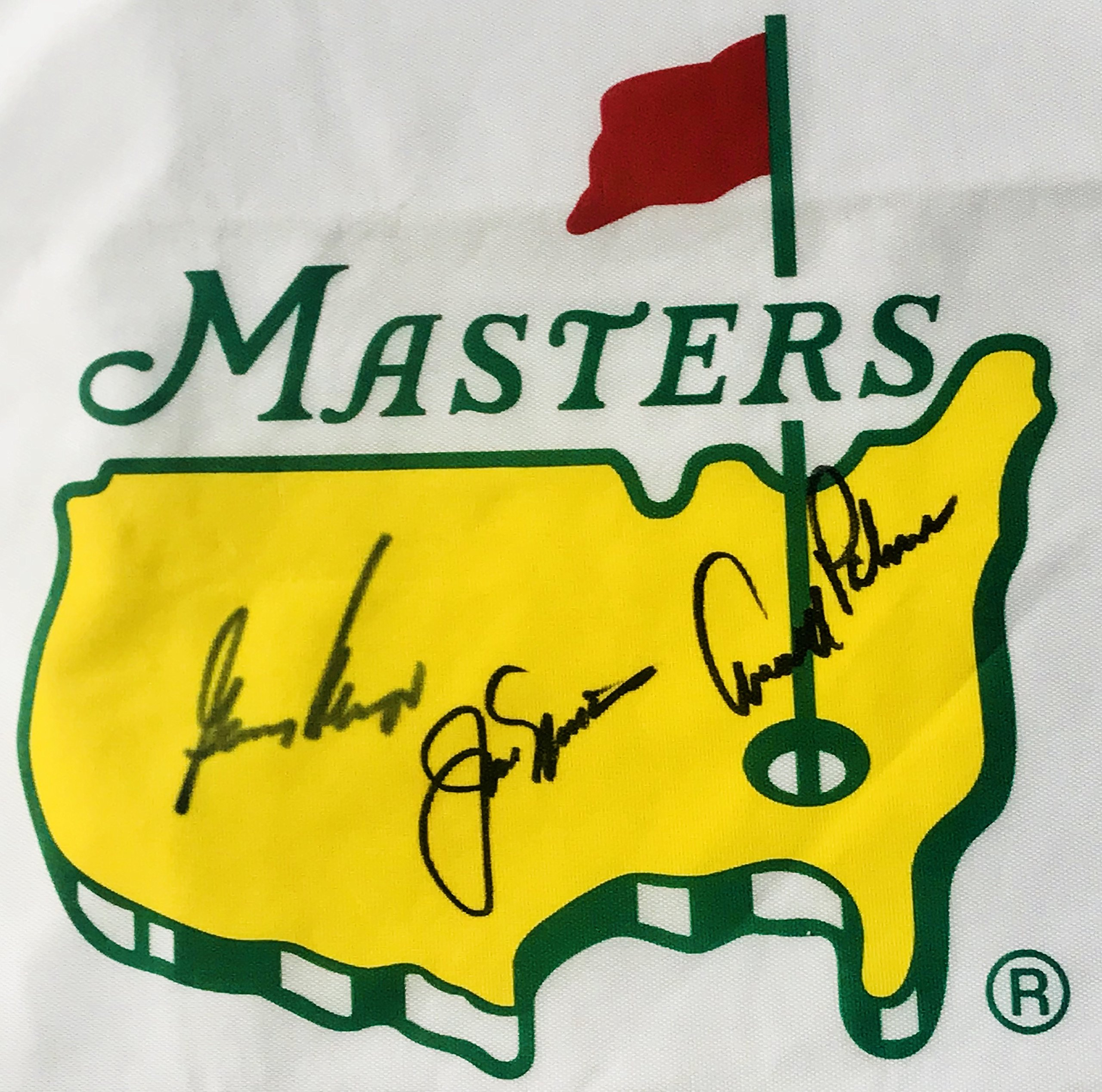 Arnold Palmer Jack Nicklaus Gary Player signed Masters golf Flag big 3 2018 Masters pga beckett loa