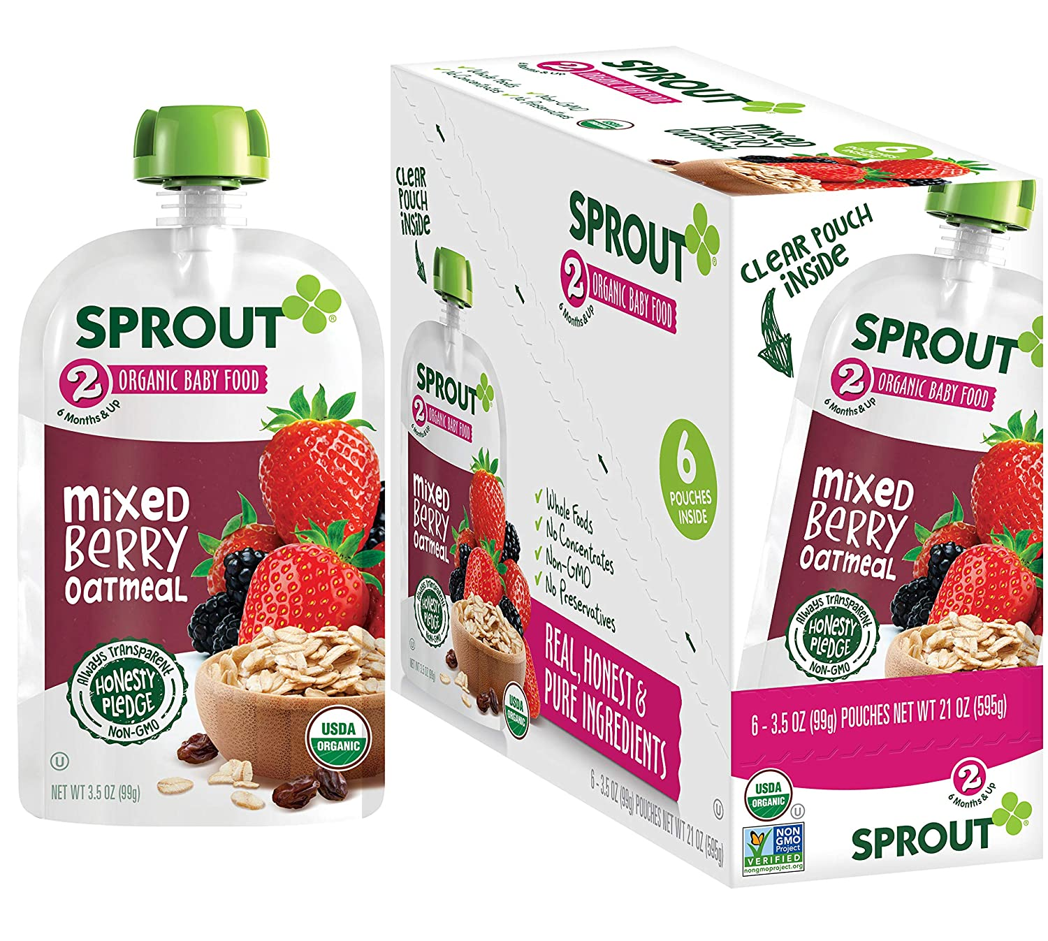 Sprout Organic Stage 2 Baby Food Pouches, Mixed Berry Oatmeal, 3.5 Ounce (Pack of 6)