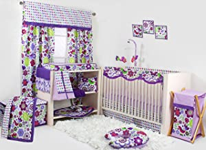 Bacati Botanical Girls 10-Piece Nursery-in-A-Bag Crib Bedding Set with Long Rail Guard, Purple