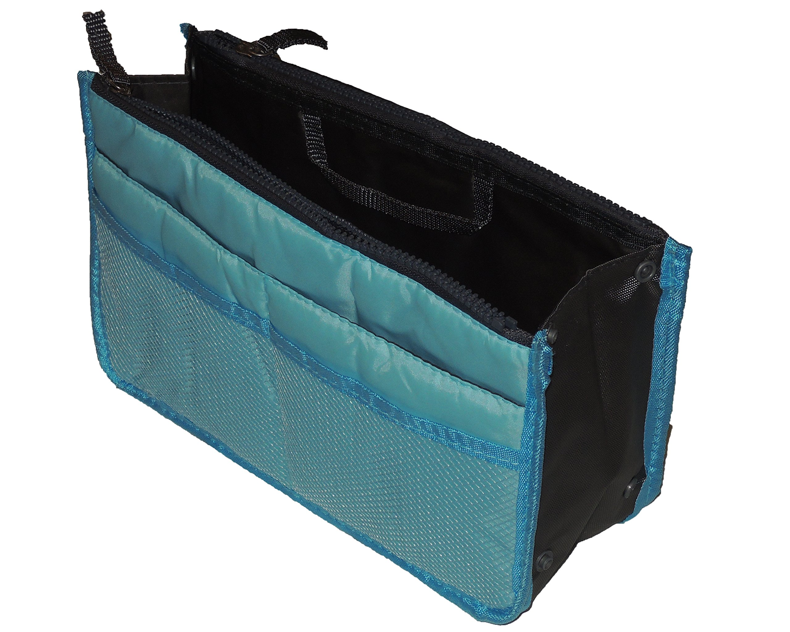 Gold-Confort Organizer 13 Pockets Insert Purse 11.6'' X 6.3'' Bag in Bag (Light Blue)