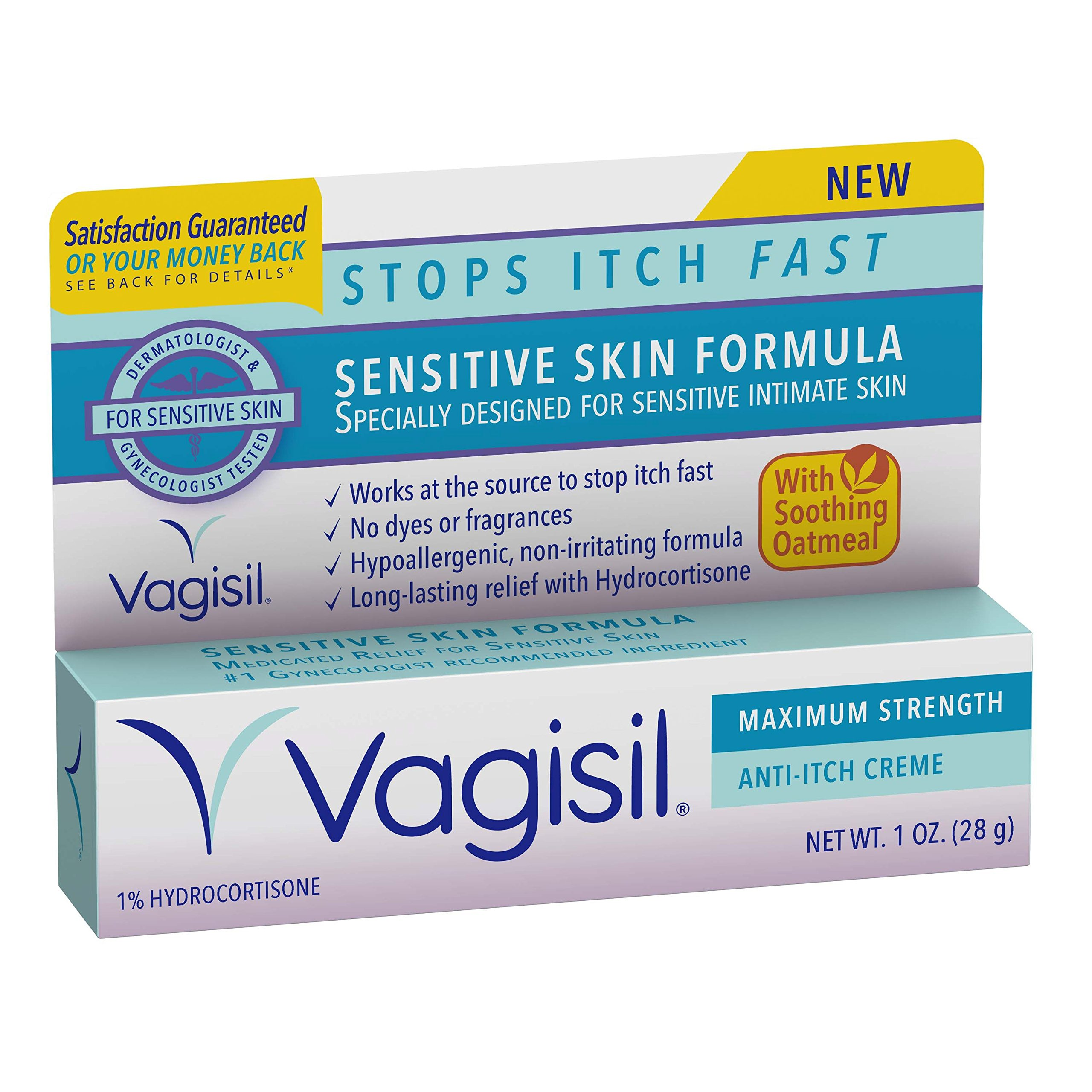 Vagisil Maximum Strength Anti-Itch Vaginal Crème for Sensitive Skin with  Hydrocortisone Acetate, 1 oz