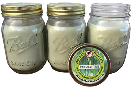 Mosquito Naturals Natural Eucalyptus Mosquito Repellent Candle (Set of 3)  Indoor/Outdoor -88 Hour Burn- Naturally Repels Insects with Essential Oils,