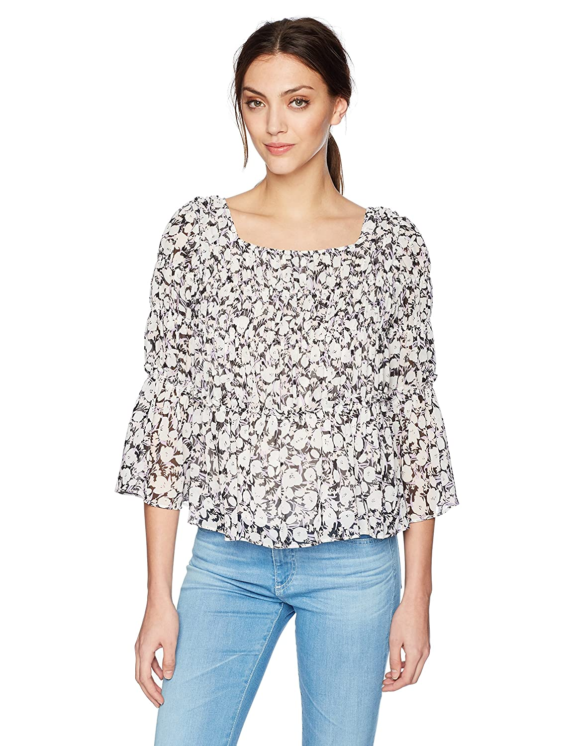 Nine West Womens Long Sleeve Floral Blouse