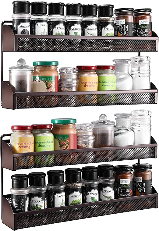 Amazon Com 2 Pack Simple Trending 2 Tier Spice Rack Organizer Wall Mounted Spice Shelf Storage Holder For Kitchen Cabinet Pantry Door Bronze Kitchen Dining