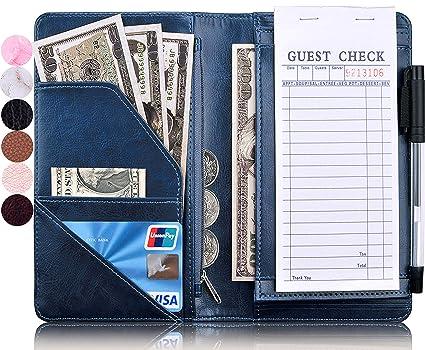 YOMFUN Server Book With Change Pocket Waiter Waitress Book with Money  Pocket,Guest Check Book Holder Zipper Pocket for High Volume, Server Wallet  Fit