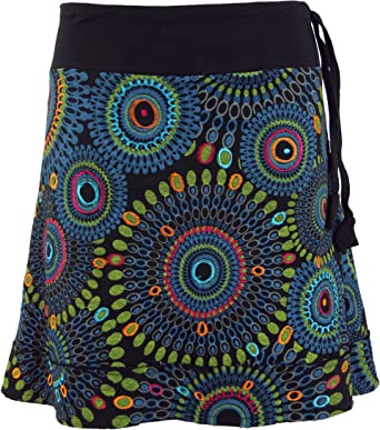 GURU-SHOP, Mini Falda Bordada, Falda Boho Chic, Mandala Retro ...