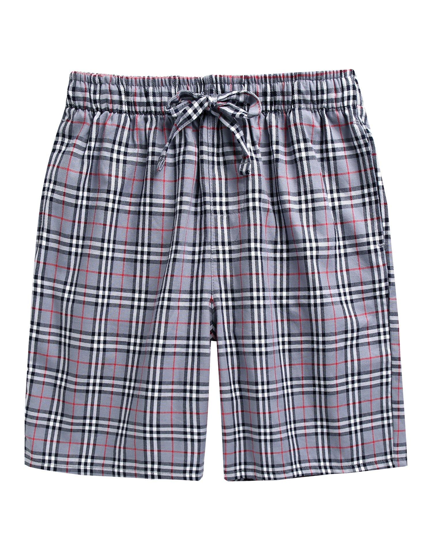 TINFL Men's Plaid Check Cotton Lounge Sleep Shorts MSP-SB001-Grey L