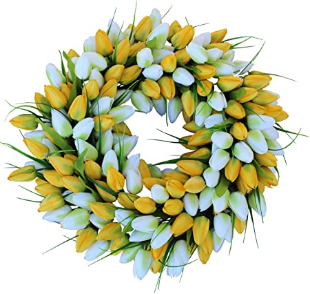 Yellow And White Tulip Spring Door Wreath Amazon Co Uk Kitchen Home