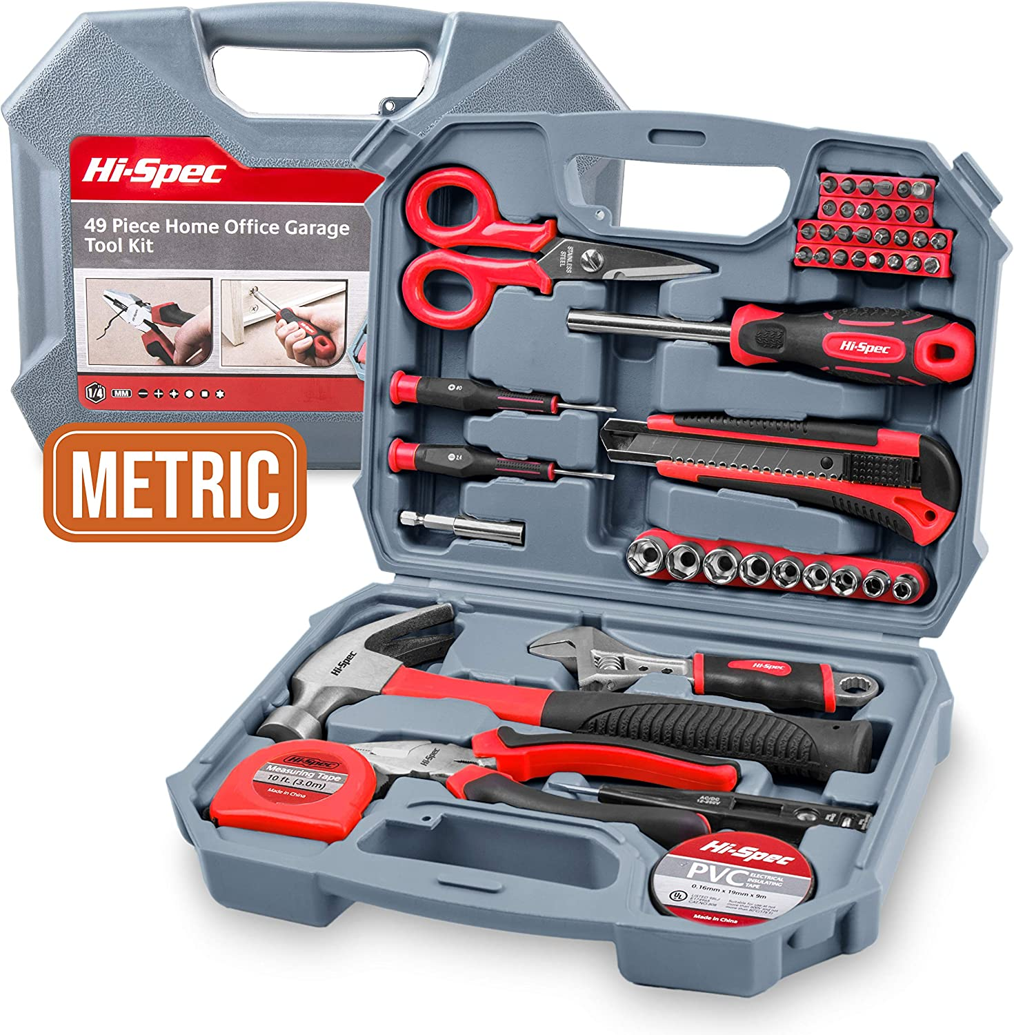 """Garage & Home Tool Kit, Hi-Spec DT30117, with Claw Hammer, Adjustable Wrench, Metric 1/4"""" Sockets, Precision Screwdrivers, Combination Pliers, Bit Driver & Screw Bits 49 Piece Set in Box"""