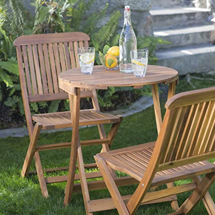 Genial Lindos 3 Piece Durable Acacia Wood Construction Folding Patio Bistro Set   Natural Finish