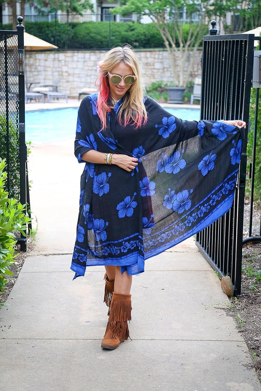 1 World Sarongs Womens Plus Size Fringeless Floral//Flower Sarong TM