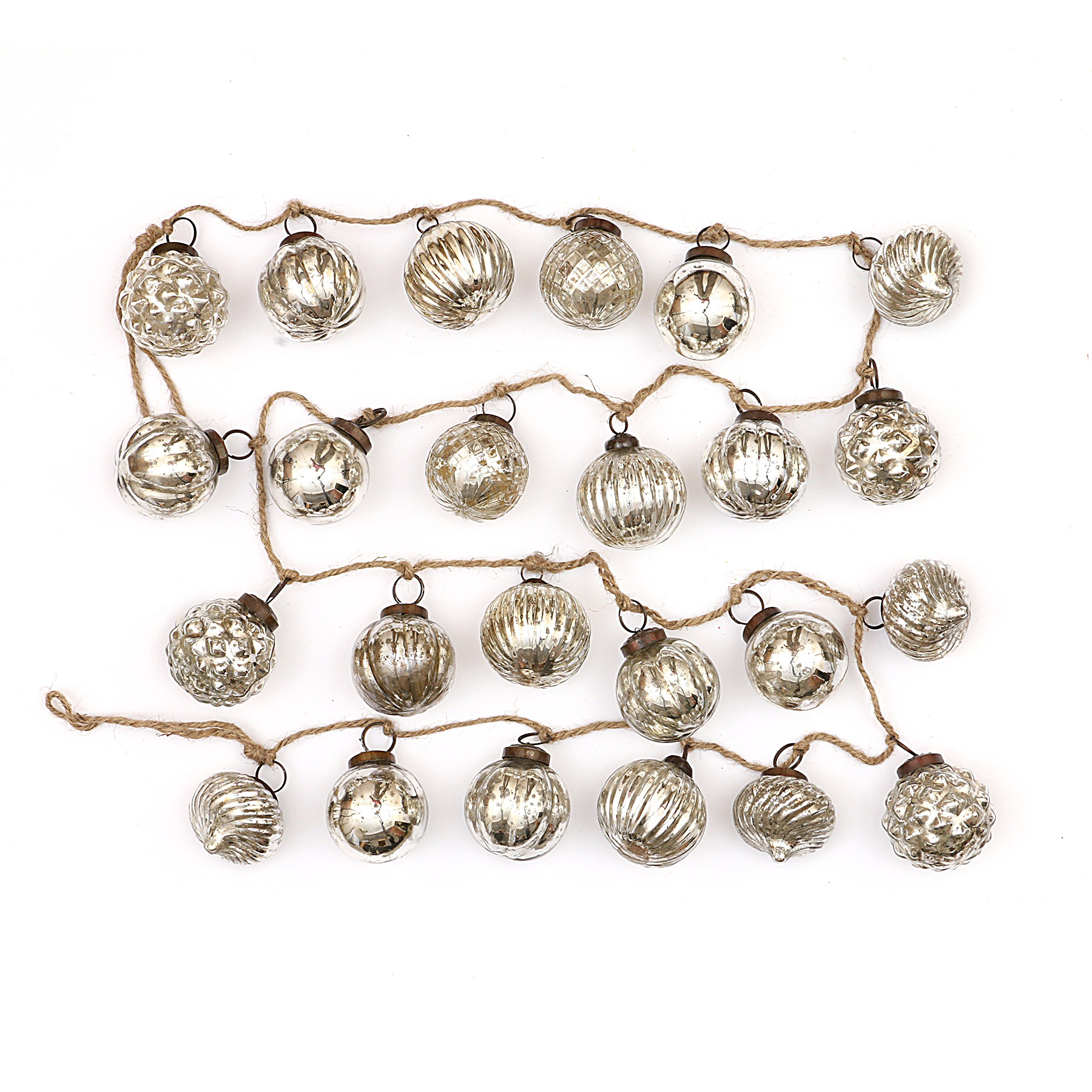 Creative Co-op Embossed Antique Silver Mercury Glass Ornamental Garland