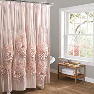 "Lush Decor Serena Shower Curtain, 72"" x 72"", Blush"