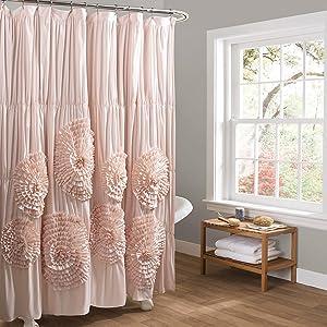 "Lush Decor Serena Shower Curtain, 72"" x 72"", Blush"
