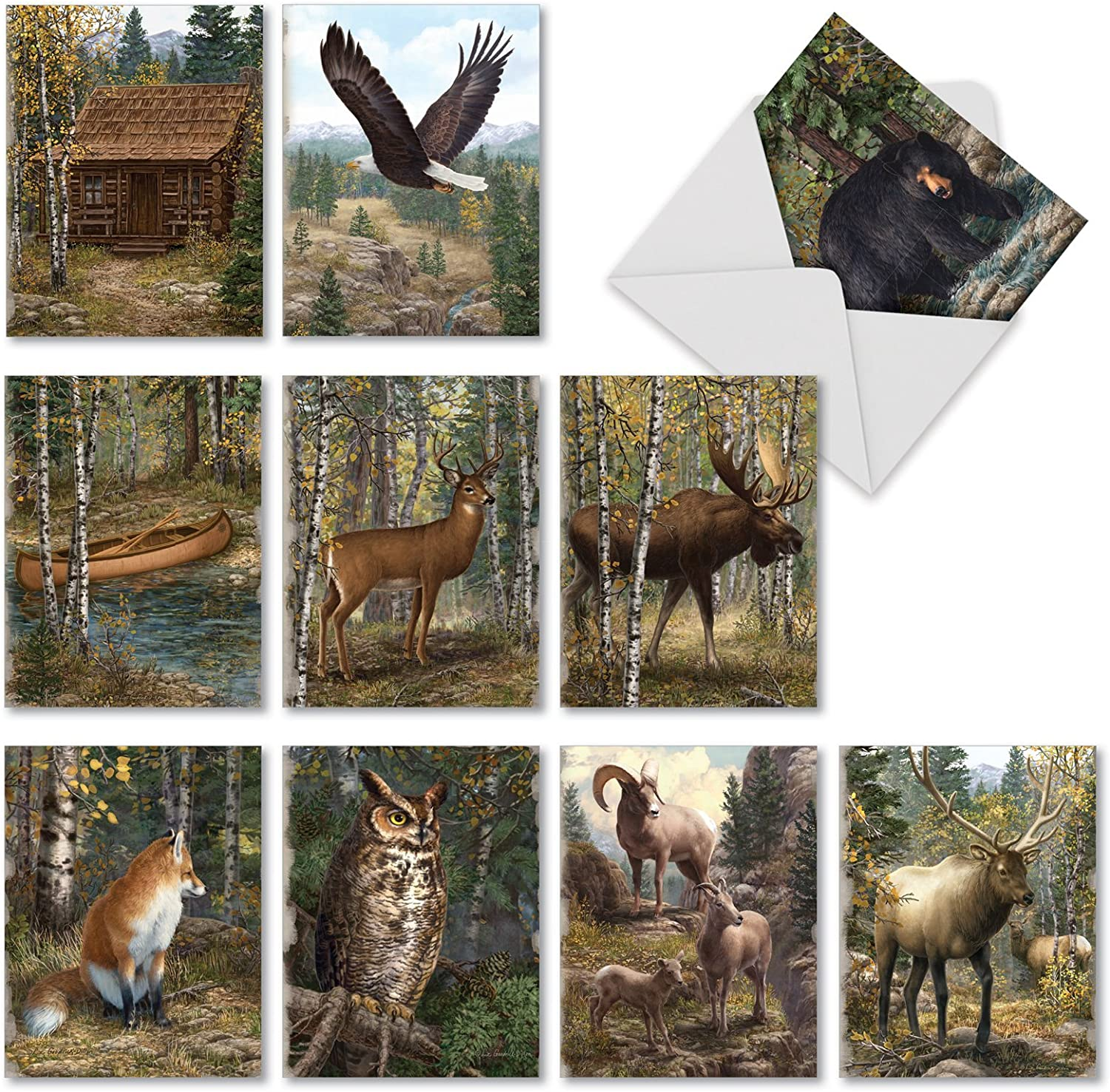 The Best Card Company - 10 Blank Greeting Cards with Animals (4 x 5.12 Inch) - Assorted Pets, Wildlife Kid Cards - Into The Woods M10032BK