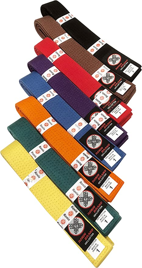 Green Yellow Orange Red Purple Ronin Brand Martial Arts Uniform Solid Colored Rank Belt Brown Black in Quality Blue