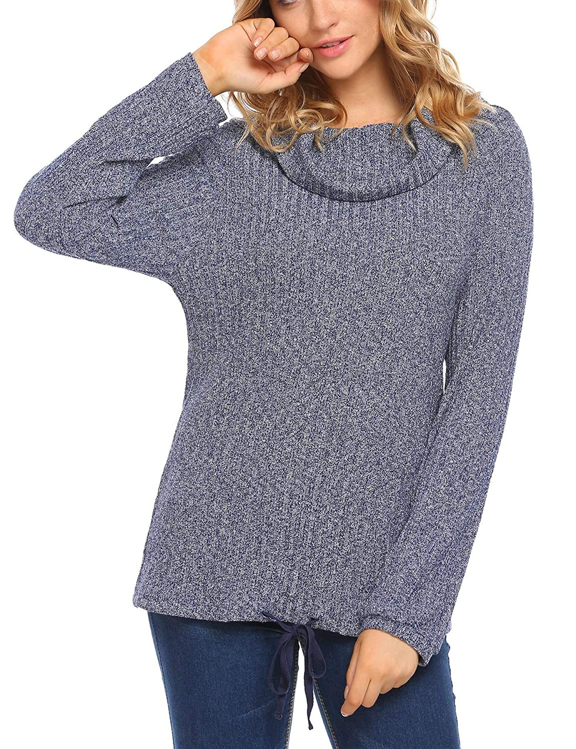 1485937a35 Zeagoo Women s Casual Cowl Neck Stretchy Long Sleeve Pullover Knit Sweater  at Amazon Women s Clothing store