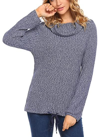 4d0bb96d2 Zeagoo Women s Casual Cowl Neck Stretchy Long Sleeve Pullover Knit ...