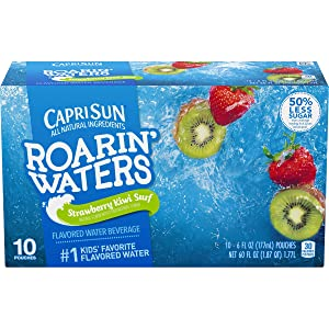 Capri Sun Roarin' Waters Flavored Water Beverage, Strawberry Kiwi, 10 Pouches (Pack of 4)