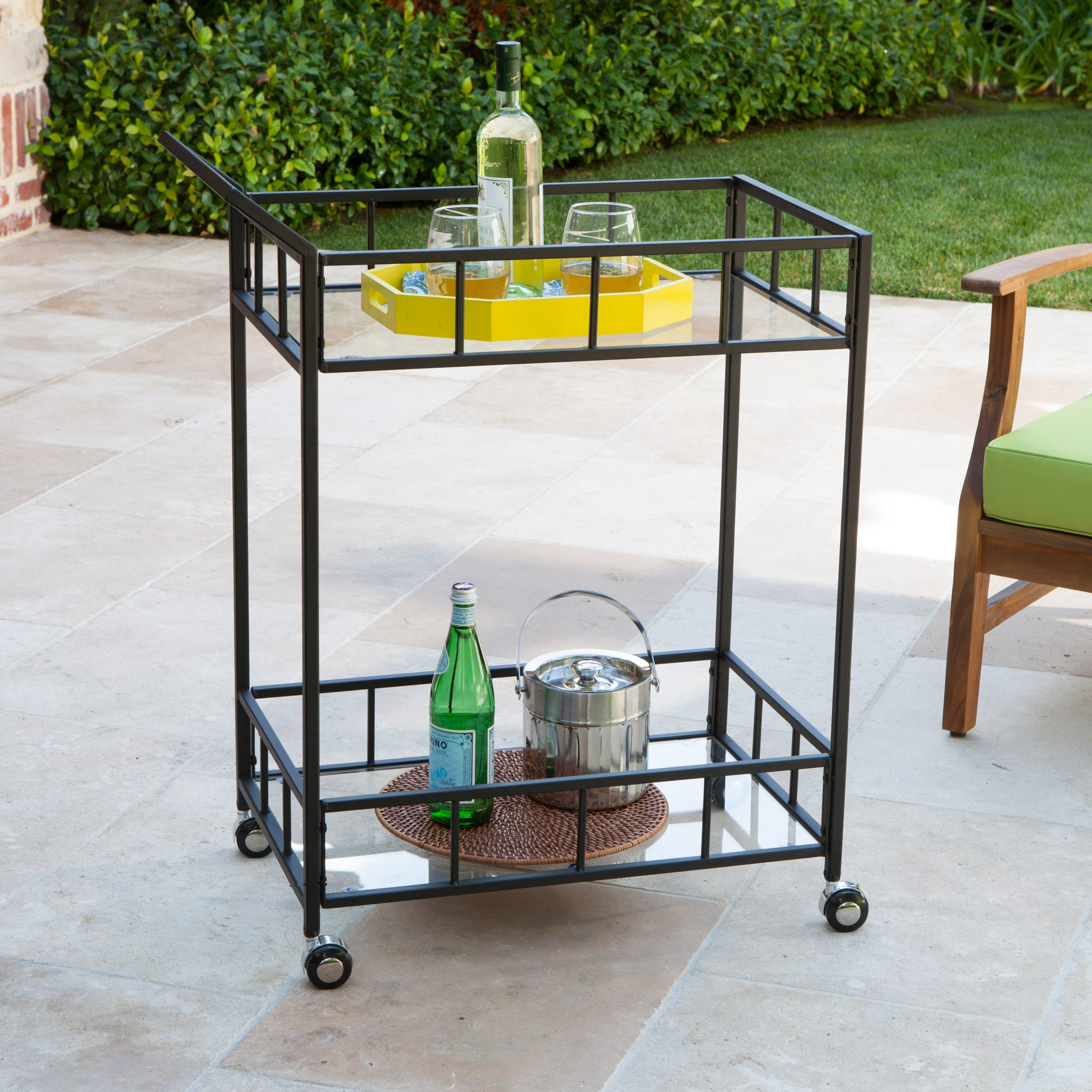 Christopher Knight Home Varacruz Outdoor Industrial Modern Black Powder Coated Iron Bar Cart with Tempered Glass Top
