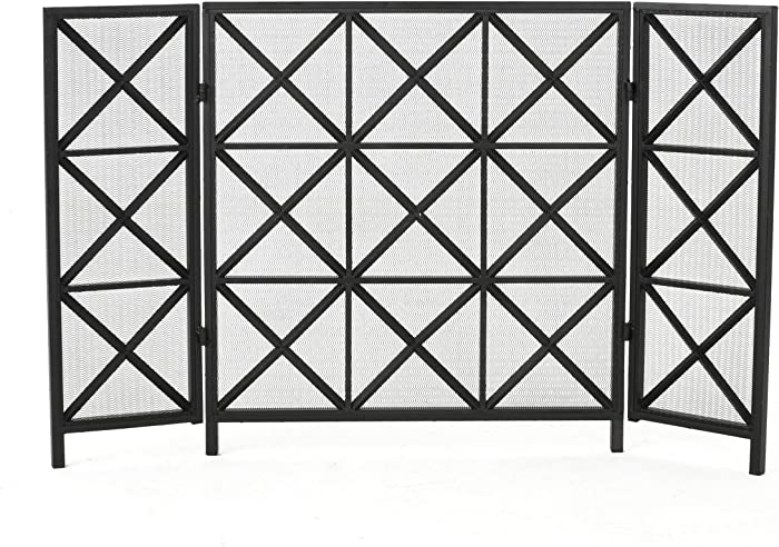 Christopher Knight Home Margaret 3 Panelled Iron Fireplace Screen, Black