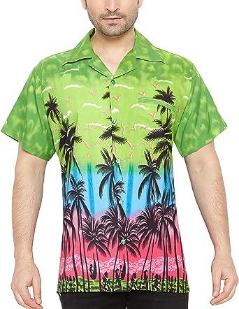 CLUB CUBANA Camisa hawaiana florar casual manga corta ajustado para hombre L: Amazon.es: Ropa y accesorios