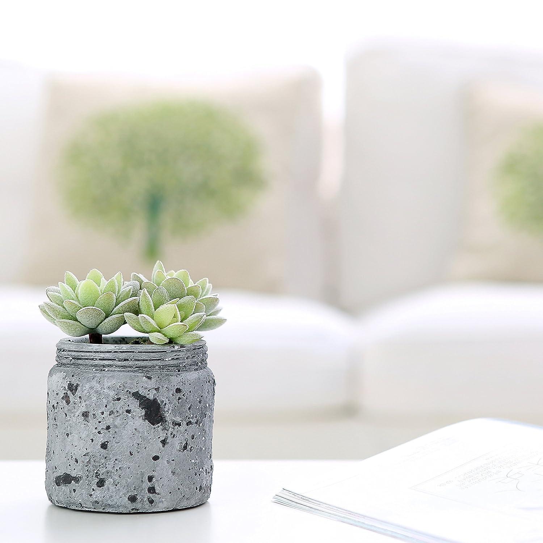 MyGift 4 inch Realistic Artificial Green Succulent Plant Arrangement in Vintage Distressed Gray Ceramic Jar Pot AX-AY-ABHI-99447