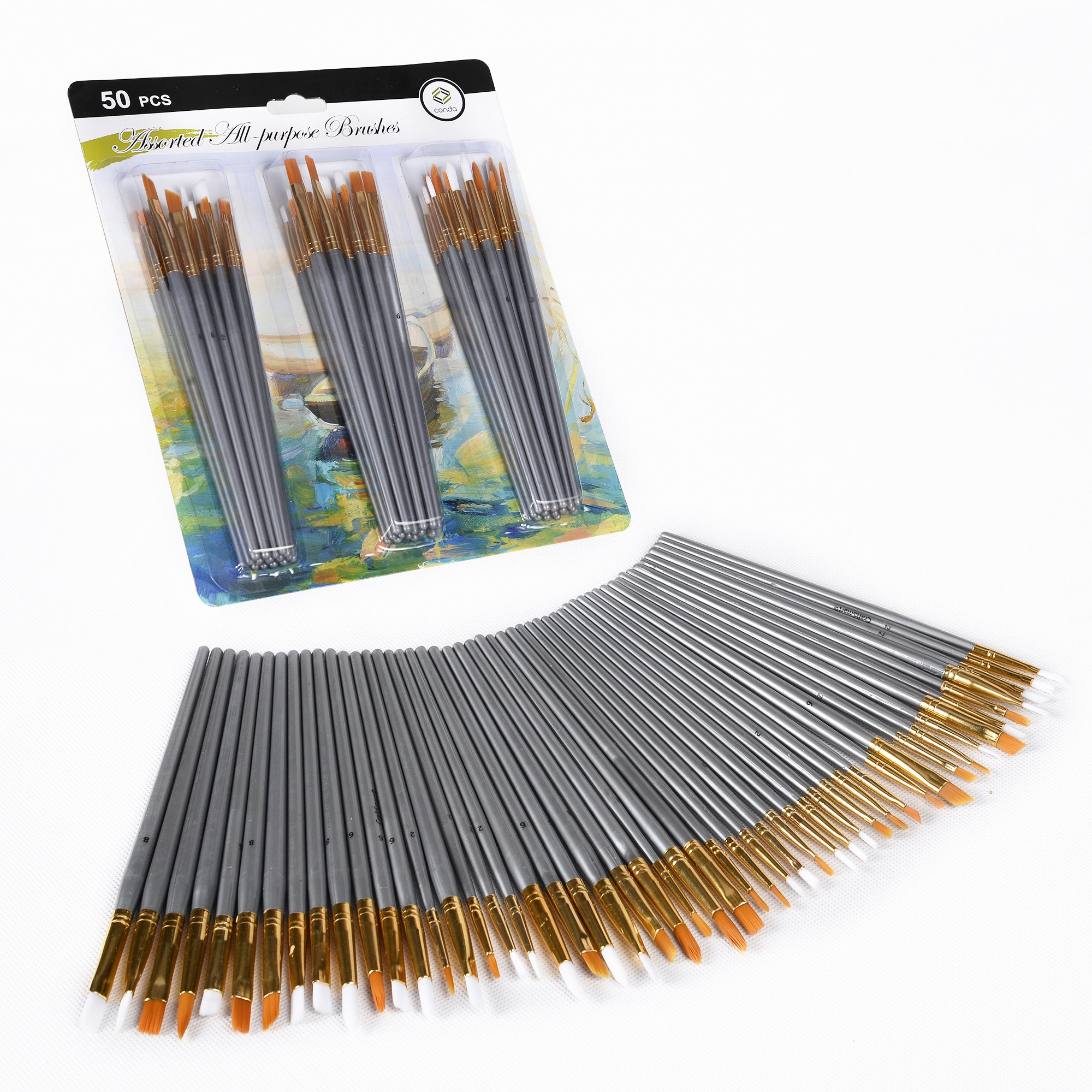 CONDA 50 pcs Assorted All- Purpose Paint Brush Set for Acrylic, Oil, Watercolors