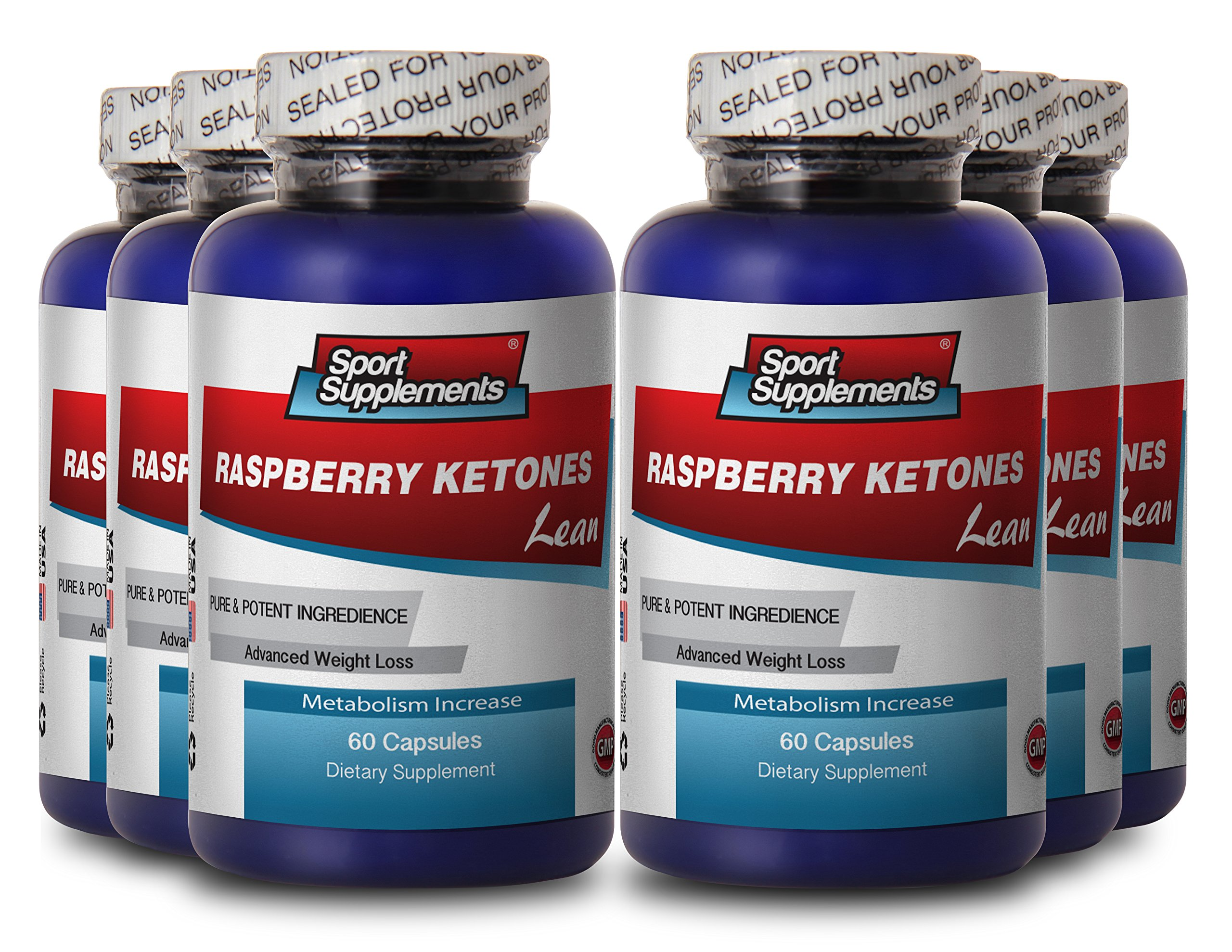 Raspberry Ketones Lean 1200mg w/ Acai, Green Tea, Resveratrol (6 Bottles 360 Capsules)