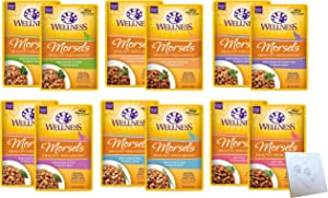 Wellness Healthy Indulgence Morsels in Sauce – Six Total Flavors: Salmon & Tuna, Duck & Turkey, Tuna, Chicken & Turkey, Salmon, and Chicken Liver Plus Pet Paws Notepad (12 Pouches Total, 3oz Each)