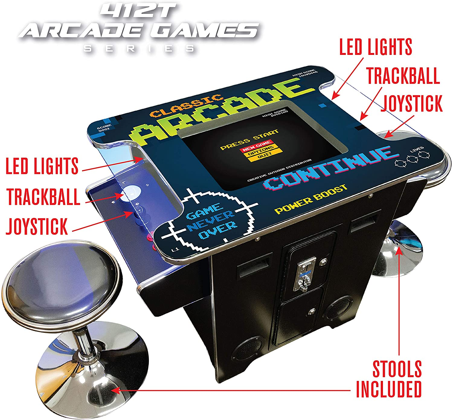 """Creative Arcades Full-Size Commercial Grade Cocktail Arcade Machine 