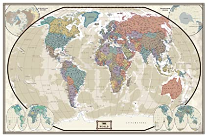 Amazon Com World Executive Wall Map Poster Mural 24x36 Laminated
