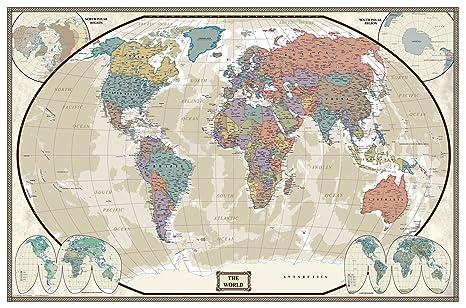 Swiftmaps World Executive Wall Map Poster Mural (24x36 Laminated)