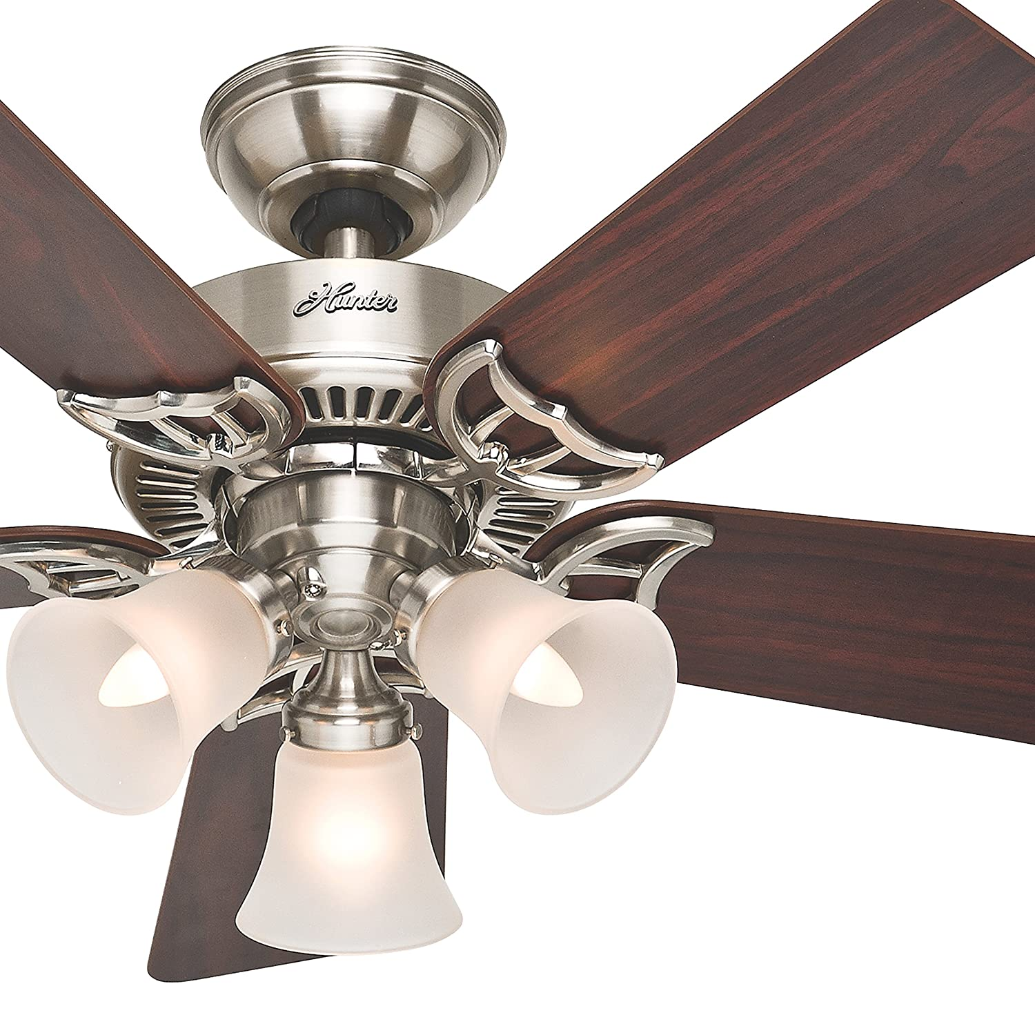 Hunter Fan 42 inch Ceiling Fan with Light in Brushed Nickel, 5 Blades Renewed