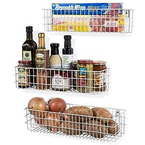 Wall35 Kansas Wall Mounted Kitchen Storage Metal Wire Fruit Basket Varying Sizes, Set of 3, White