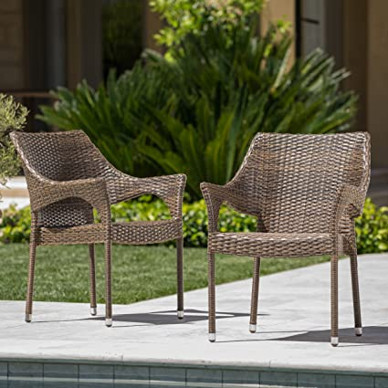 Christopher Knight Home Del Mar Patio Furniture ~ Outdoor Mix Mocha Wicker  Stacking Chairs (Set - Amazon.com : Christopher Knight Home Del Mar Patio Furniture