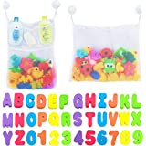 Comfylife 2 x Mesh Bath Toy Organizer + 6 Ultra Strong Hooks + 36 Bath Letters & Numbers – Eco-Safe, Fun, Educational Foam Ba