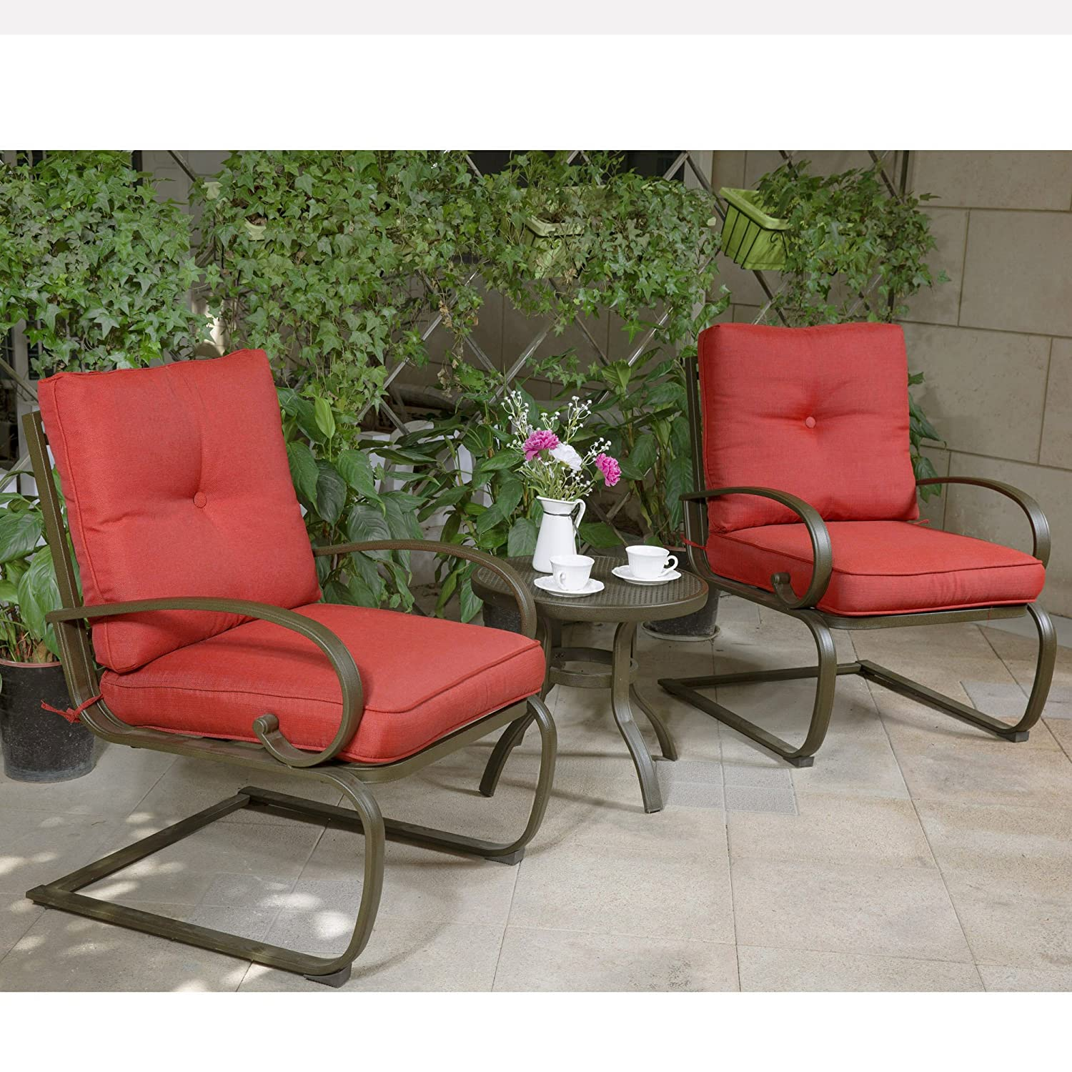 Amazon.com: Cloud Mountain Bistro Table Set Outdoor Bistro Set Patio Cafe  Furniture Seat, Wrought Iron Bistro Set, Garden Set with Cushioned Seats,  ... - Amazon.com: Cloud Mountain Bistro Table Set Outdoor Bistro Set Patio