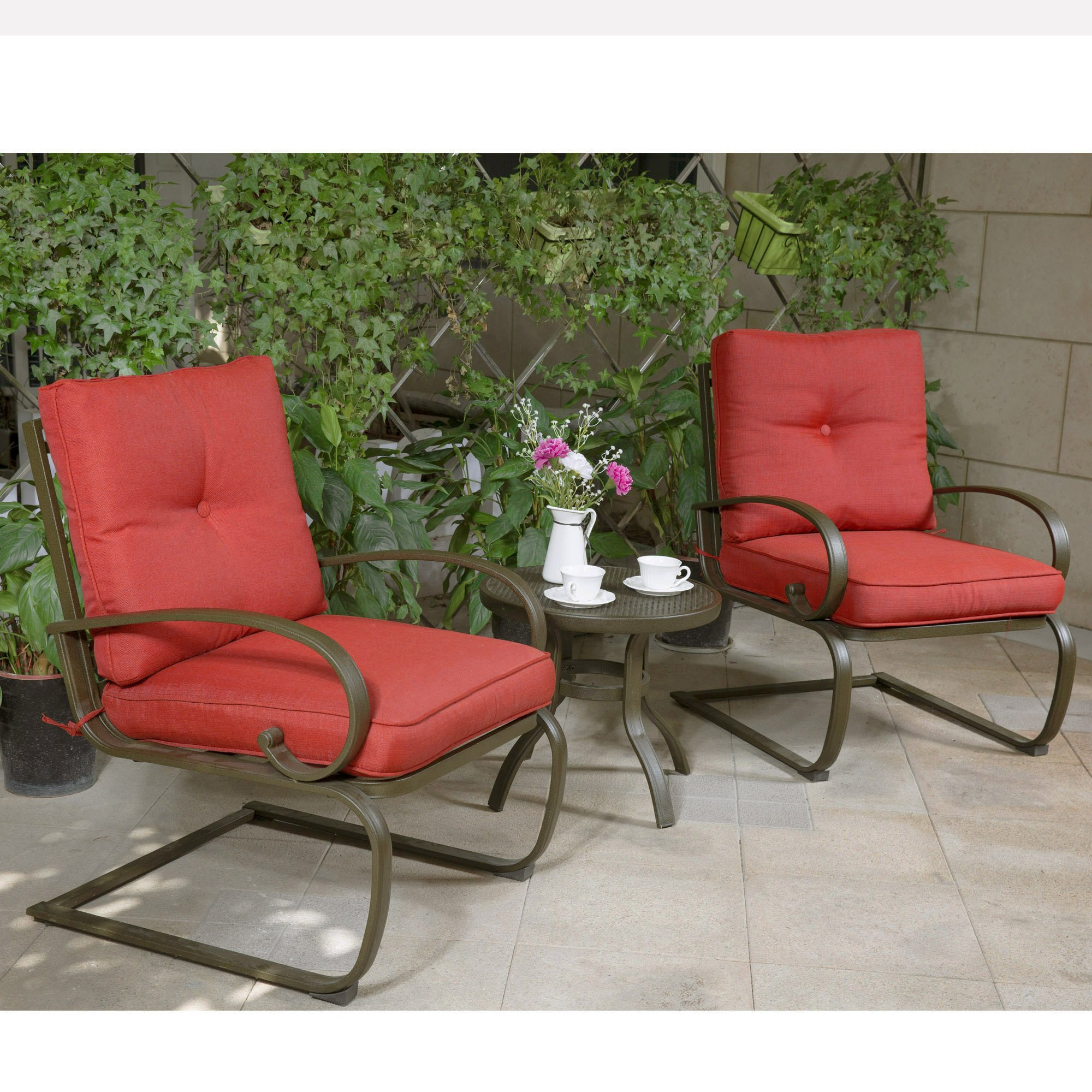 Cloud Mountain Bistro Table Set Outdoor Bistro Set Patio Cafe Furniture Seat, Wrought Iron Bistro Set, Garden Set with Cushioned Seats, Brick Red