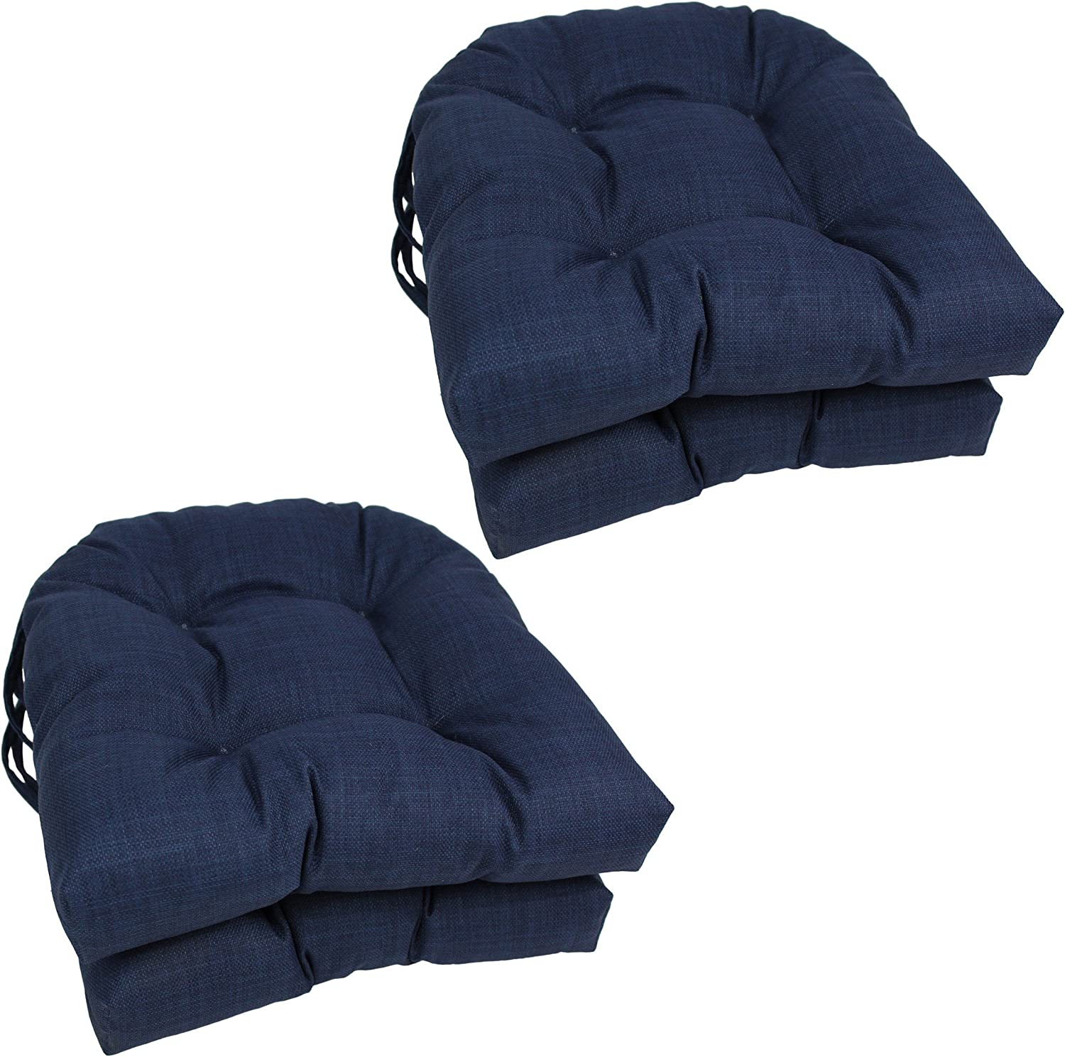 Blazing Needles Spun Polyester Solid Outdoor U-Shaped Tufted Chair Cushions Set, Set of 4, 16 , Paprika