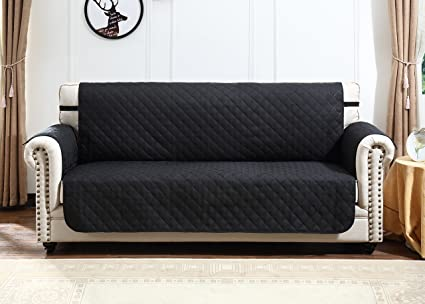 Argstar Sofa Couch Covers Profession Couch Protector For Pets Reversible  Black/Gray