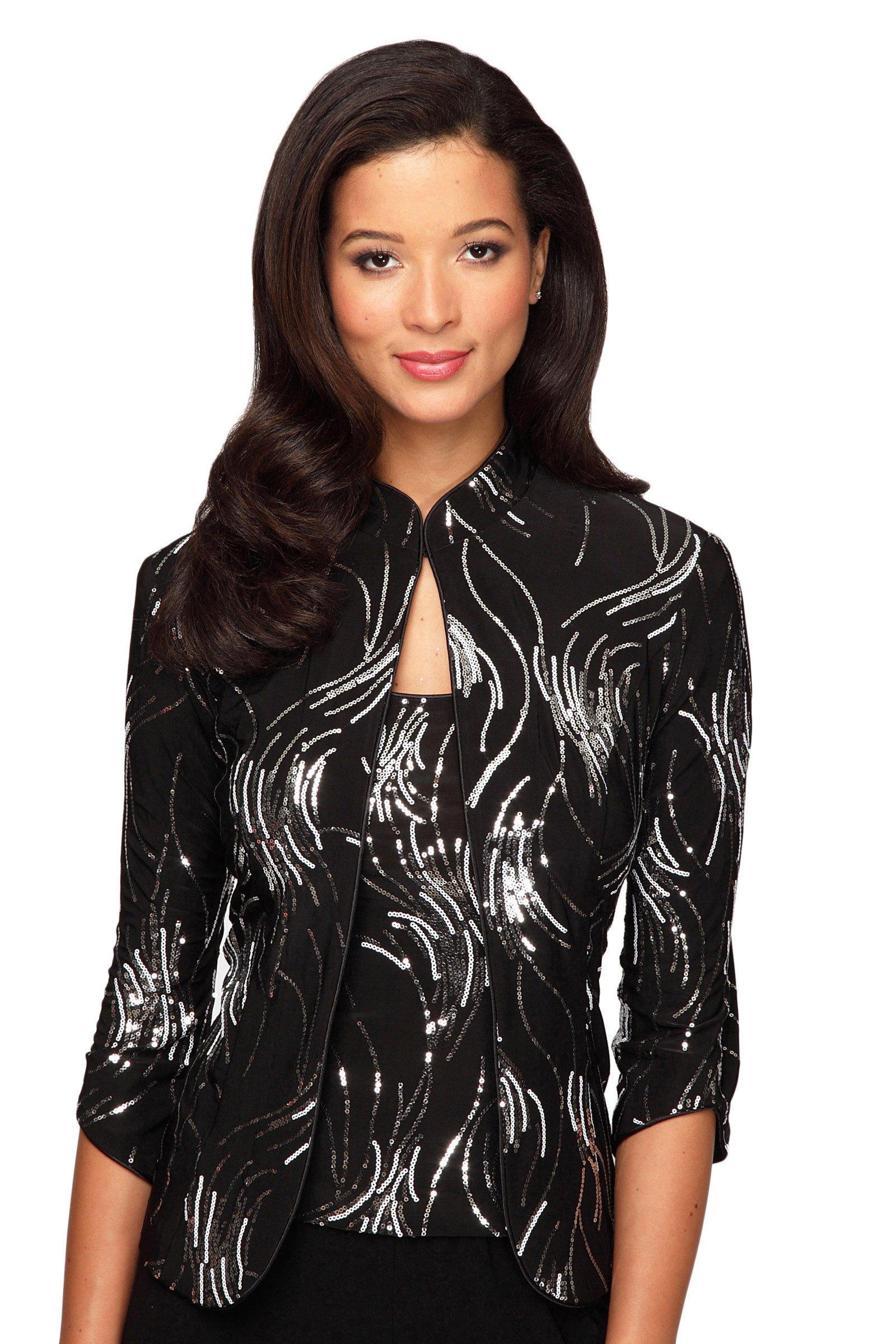 Alex Evenings Women's 3/4 slv sequin mandarin collar twinset 2X BLACK SILVER