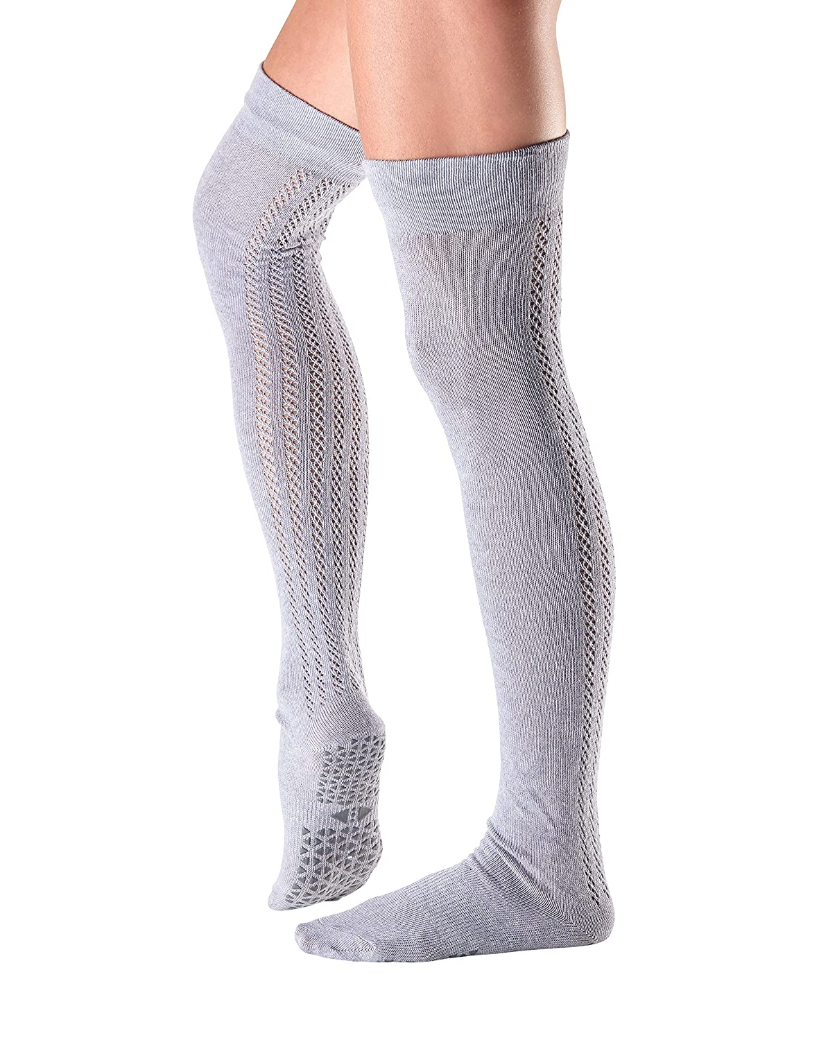 Tavi Noir Grip Kris Over the Knee High Grip Socks for Barre, Pilates, and Yoga, Ebony, Medium
