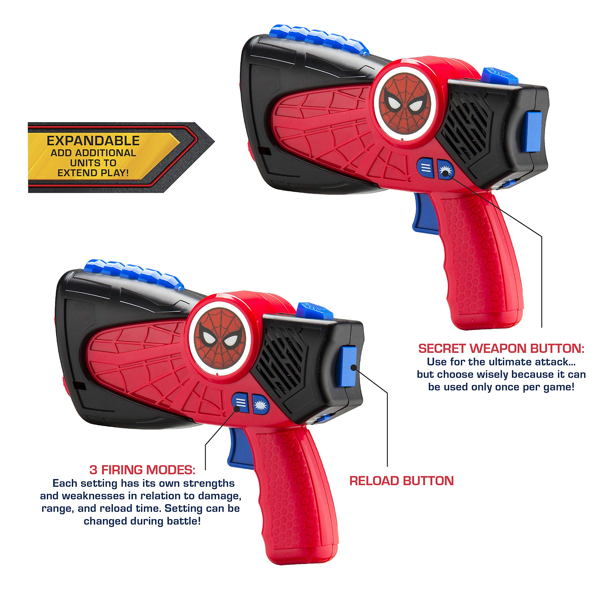 Spiderman Far from Home Laser-Tag for Kids Infared Lazer-Tag Blasters Lights Up & Vibrates When Hit by eKids (Image #3)