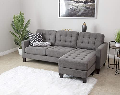 Abbyson Living Fabric Upholstered Reversible Chaise Lounge Sectional Sofa