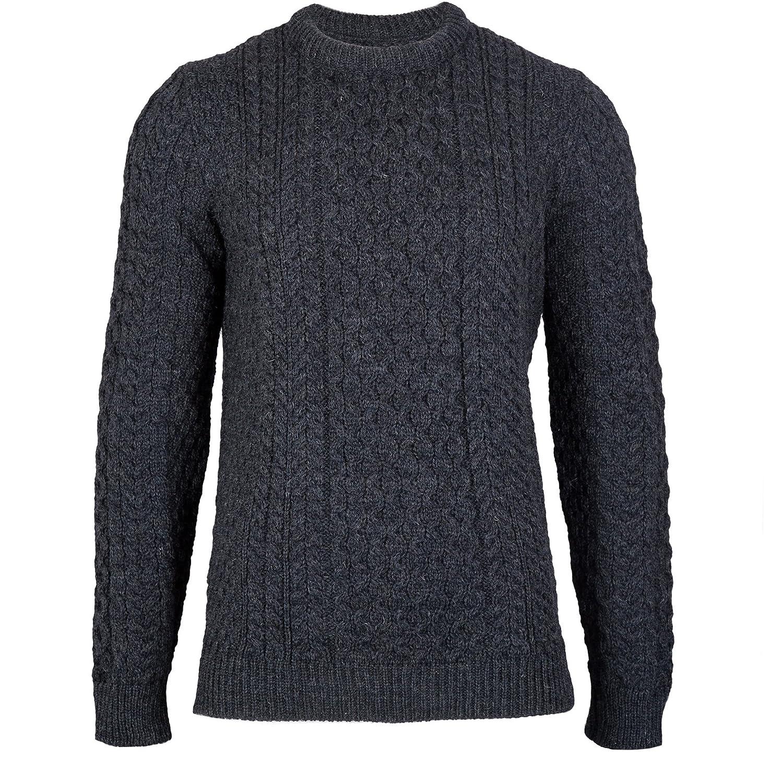 Johnson - Charcoal - British Wool Men's Aran Jumper