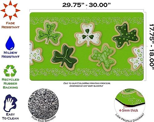 Toland Home Garden Shamrock Cookies 18 x 30 Inch Decorative St Patrick Floor Mat Clover Dessert Doormat