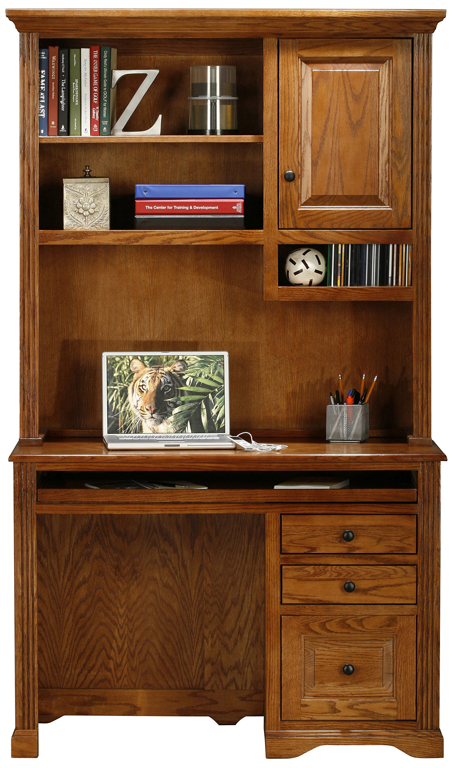 Eagle Oak Ridge Tall Single Pedestal Desk Hutch with Door, Light Oak Finish
