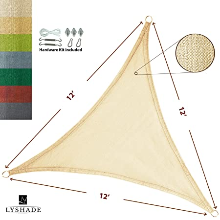 LyShade 12 x 12 x 12 Triangle Sun Shade Sail Canopy with Stainless Steel Hardware Kit – UV Block for Patio and Outdoor Cream